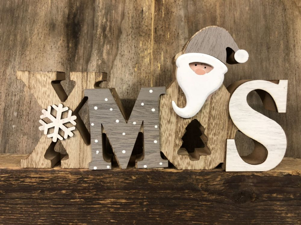 XMAS  Grey & White Wooden Santa Christmas Plaque